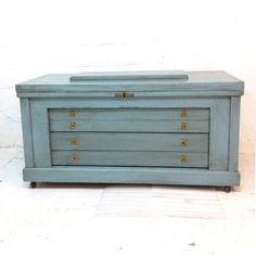 Vintage Trunks And Chests | Handmade Tool Chest Vintage Early 20th Century Light Blue and Grey ...