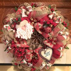 Vintage Red Burlap/Poly Deco Mesh Holiday Wreath with Rustic Santa, Burlap Snowflake and Poinsettia Ribbon
