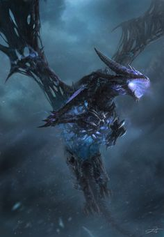black and blue skeletal undead dragon