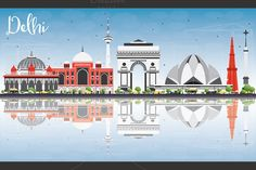 Buy Delhi Skyline with Gray Buildings by booblgumpnz on GraphicRiver. Delhi Skyline with Gray Buildings, Blue Sky and Reflections. Business Travel and Tourism Concept. City Sketch, Building Icon, Black And White City, Skyline Silhouette, Travel And Tourism, Business Travel, Vector Design, Buildings, House Illustration