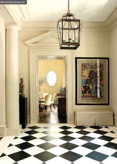 Love the color against the black and white floor.