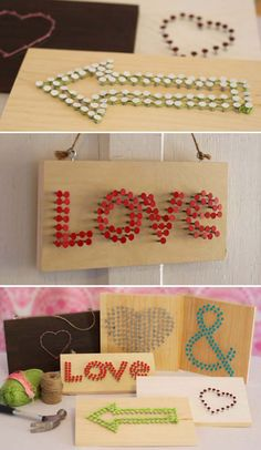 Cool Arts and Crafts Ideas for Teens, Kids and Even Adults | Cheap, Fun and Easy DIY Projects, Awesome Craft Tutorials for Teenagers | School, Home, Room Decor and Awesome Gift Ideas | Nail and String Signs | http://diyprojectsforteens.com/arts-and-crafts-ideas-for-teens