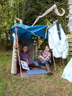 """Den made with a washing airer at Sun Hill Infant School, photo shared by Play Learning Life ("""",) Communication Friendly Spaces, Outdoor Learning, Make Blog, What Inspires You, Preschool Kindergarten, Eyfs, Den, Activities For Kids, Theatre"""