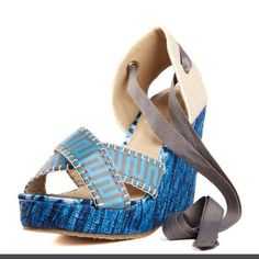 New adorable blue wedges 8.5 These are so cute and brand new! Shoes only no box Shoes