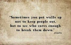 Hmmm. Truth. But there comes a time when you have to allow those walls to actually be broken.