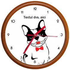 Ceasul reprezinta imaginea unui simpatic bulldog francez sau pug. Are papion sau fundite.  Ceasul poate fi personalizat cu textul dvs. Clock, Pug, Wall, Design, Home Decor, Watch, Decoration Home, Room Decor