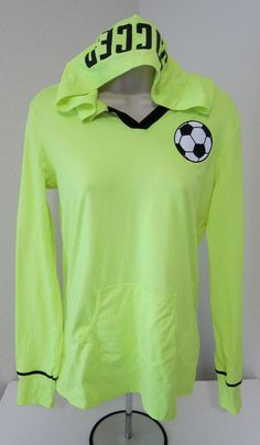 291f8680ff1 JUSTICE Girls 14 Neon Yellow Hoodie Jacket Large Soccer Long Sleeve   Justice  Hoodie  Everyday