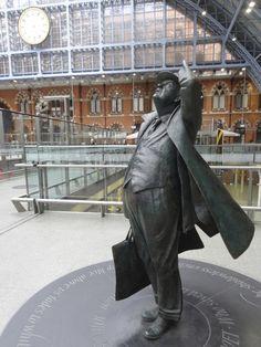 The statue of Sir John Betjamin, writer and poet, at St Pancras Station, London, UK