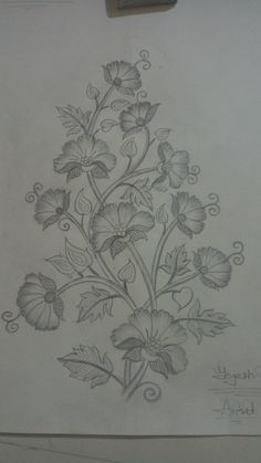 Udit jain's media statistics and analytics Embroidery Neck Designs, Floral Embroidery Patterns, Hand Embroidery Stitches, Machine Embroidery Patterns, Crewel Embroidery, Flower Sketches, Fabric Painting, Drawings, Applique