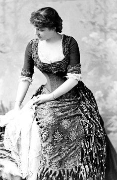 Lillie Langtry in a Victorian evening gown, c1882. [Library of Congress