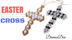 How to make a Easter Cross with DiamonDuo beads - Beading Ideas - wondering about adding a backside if that would stiffen it up . . .