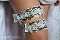 Mint Butterfly And Lace Wedding Garter Set Bridal With Appliques Glass Pearls