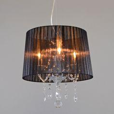 Lámpara colgante ANN-KATHRIN 3 cromo pantalla negra - Iluminación para comedor - Iluminación por habitación - lamparayluz.es                                                                                                                                                     Más