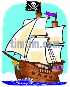 Simple Pirate Ship Drawing   ... coloring & free online drawing tool & free drawings at TimTim.com