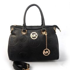Michael Kors Grayson Logo-Print Medium Black Satchels