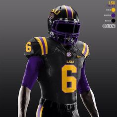 """""""LSU Tigers """"Blackout"""" concept uniform designed by RT if you like this uniform! College Football Uniforms, College Football Helmets, Lsu Tigers Football, Sports Uniforms, Football Art, Alabama Football, Color Rush Nfl, Collage Football, Sports"""