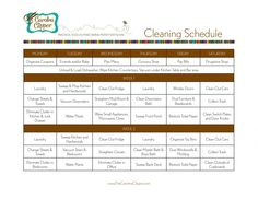 Cleaning Schedule Printable