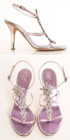 81b0acfea3b Giuseppe Zanotti Rhinestone Encrusted Metallic Purple Heels ღ  Chaussures  De Luxe