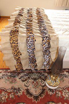 Burlap Bed Runner Ruffled Bed Scarf Leopard Bedding