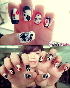 2NE1 inspired nails. 2ne1, Blackjack, cards, diamonds, hearts, queens, spades, k-pop.