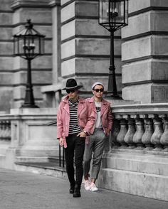 http://instagram.com/Bloggers_Boyfriend Http://bloggersboyfriend.com Men in Pink, Men's streetstyle, men's biker jacket, how to wear a biker jacket, grey nike, minimal blogger, Paris fashion week 2017. milan fashion week, New york fashion week, suede pink velvet jacket, coat, asos, fedora hat, ssense,