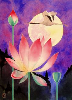 8x10 Watercolor Print Lotus and Crane by rwhooper on Etsy, $3.50  I'm in love with this...and rethinking where I want my lotus tattoo!