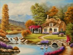 trendy Ideas for painting easy scenery Easy Landscape Paintings, Scenery Paintings, Watercolor Landscape, Landscape Art, Watercolor Paintings, Cottage Art, Gravure, Pictures To Paint, Pretty Art