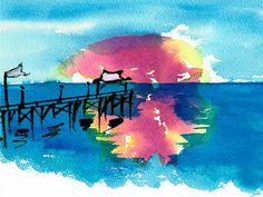 Pawleys Island Sunrise Watercolor   Artist  Frank Bright   Medium  Painting - Water Color