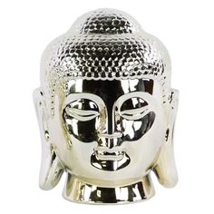 Urban Trends Ceramic Buddha Head Sculpture with Bun Ushnisha - 14861