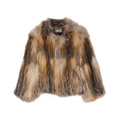 YVES SALOMON Fox Fur Knit Jacket ($1,500) ❤ liked on Polyvore featuring outerwear, jackets, fur, coats, women, yves salomon, brown leather jacket, leather jacket, fox fur jacket and knit jacket