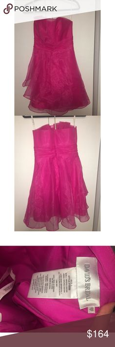 Hot Pink Dress Strapless David's Bridal Dresses Strapless