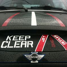 MINI Cooper black and red stripes. Keep Clear! Youification