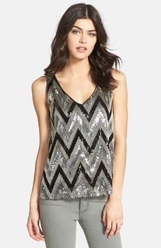I'd like this to be a little longer & maybe slightly sexier at the top.  Would wear this to dress up jeans to go out. Ella Moss 'Dorian' Sequin Tank - Nordstrom