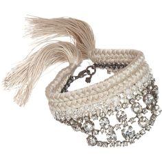 Alyssa Norton Vintage Rhinestone & Silk Bracelet found on Polyvore