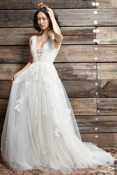 ivy aster bridal spring 2017 sleeveless deep vneck aline wedding dress (daphne) mv