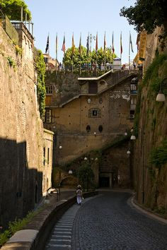 Via De Maio, the road down to the Marina Piccola, Sorrento, Italy.