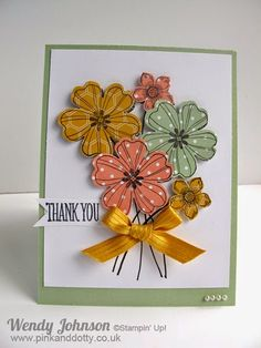 Stampin' Up! ... handmade thank you card ... Pink and Dotty ... Flower Shop flowers stamped on patterned paper ... punched out ... grouped as a bouquet ... delightful!