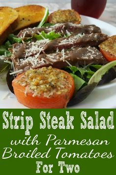 Strip Steak Salad with Parmesan Broiled Tomatoes for two makes an impressive date night dinner. Seasoned strip steak is pan grilled to your liking, served on a bed of leafy greens alongside broiled Parmesan topped tomatoes and then drizzled with the perfect blend of dressing ingredients. This dish is the perfect romantic lunch or dinner for two. Make it on Christmas or New Year's Eve. #SteakSalad #DinnerForTwo #RecipesForTwo #salad #LunchForTwo #steak #lowcarb Lunch Recipes, Great Recipes, Dinner Recipes, Cooking Recipes, Healthy Recipes, Picnic Recipes, Picnic Ideas, Picnic Foods, Cooking Ideas