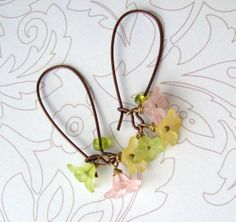 lucite flowers earrings in spring pastels with bronze ear wires