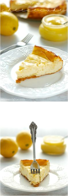 Lemon Cheesecake | www.wineandglue.com | A seriously amazing lemon swirled cheesecake