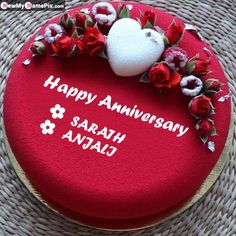 Write couple names anniversary cake wishes pictures, online creating two name anniversary images download free, best romantic red flowers cake for wedding anniversary wishes, creat... Birthday Cake Write Name, Birthday Cake Writing, Birthday Wishes Cake, Cake Name, Baby Birthday Cakes, Happy Marriage Anniversary Cake, Anniversary Cake Pictures, Anniversary Cake With Photo, Happy Wedding Anniversary Wishes