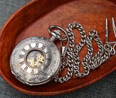 Personalized Silver Pocket Watch Steampunk Mechanical Watch Double Hun – PocketWatchKeepsakes
