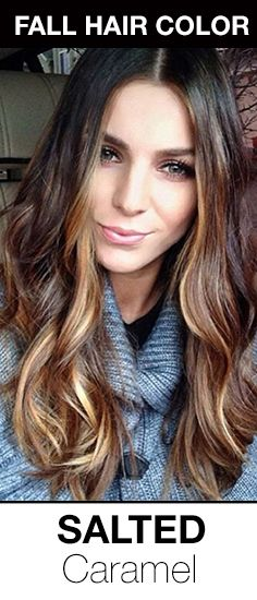 Gorgeous fall hair color for brunettes! Brown hair with salted caramel highlights.