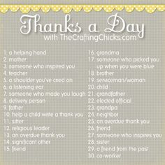 Thanks a Day Gratitude Challenge - to be done the 30 days prior to Thanksgiving. Each day mail a thank you note to the person listed. Great challenge to show those I care about how grateful I am for them! Printable Thank You Cards, Free Thank You Cards, November Challenge, 30 Day Challenge, Thanksgiving Crafts, Thanksgiving Celebration, Attitude Of Gratitude, Look Here, Activity Days