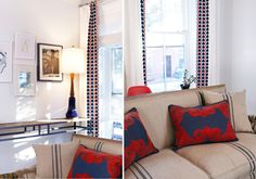 Boerum Hill Brownstone || Red & Blue Embroidered Pillows || Chango & Co.