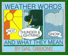 Weather Words and What They Mean explains weather terms in simple language, by Gail Gibbons. Weather For Kids, Preschool Weather, Weather Science, Science Week, Science Books, Teaching Science, Science For Kids, Earth Science, Teach Preschool