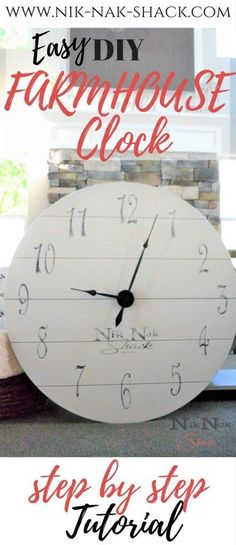 DIY Farmhouse Clock. This clock is huge and easy! Perfect for lovers of DIY Home Decor and DIY Farmhouse Decor. Bring out your inner Joanna Gaines!