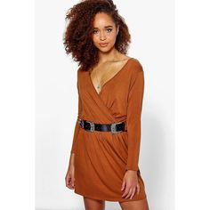 Boohoo Carmel Wrap Front Long Sleeve Skater Dress ($26) ❤ liked on Polyvore featuring dresses, tan, long sleeve cocktail dresses, tan bodycon dress, skater dress, day to night dresses and special occasion dresses