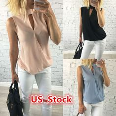 USA Fashion Women Summer Loose Top Sleeveless Blouse Ladies Casual Tops T-Shirt 2017
