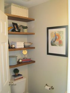 storage in small half bathroom, bathroom ideas, diy, how to, shelving ideas, storage ideas, urban living, Floating shelves provide lots of storage in a tiny bathroom